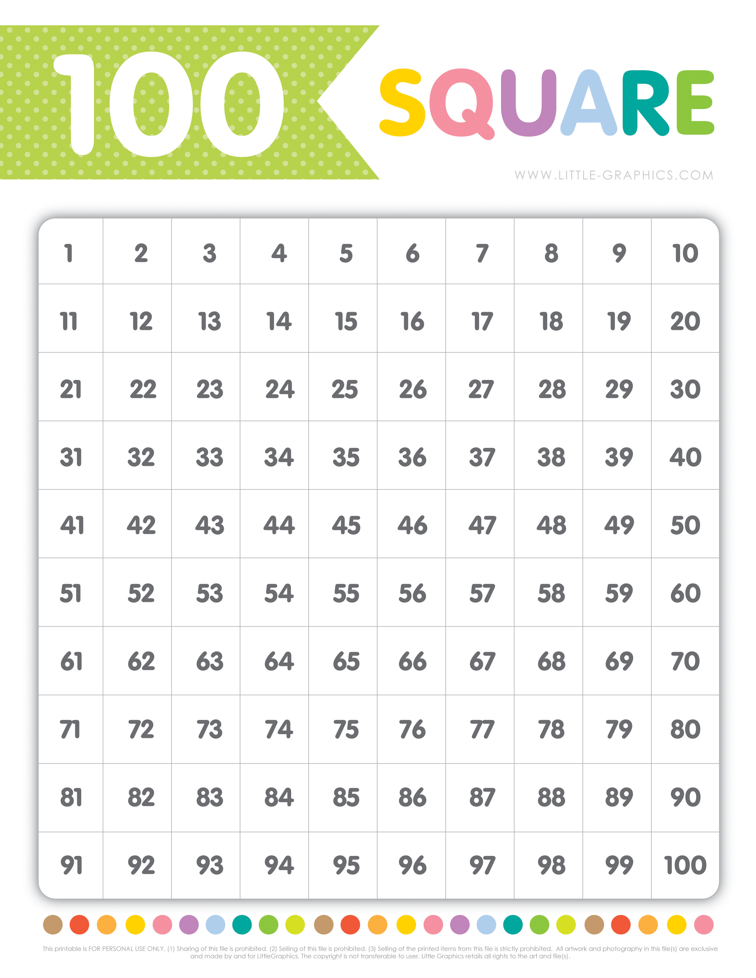 100 Square Chart Free Download | Little Graphics