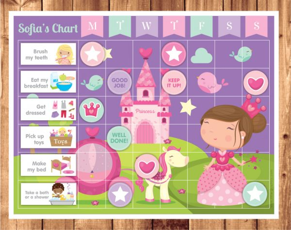 brunette princess chore chart
