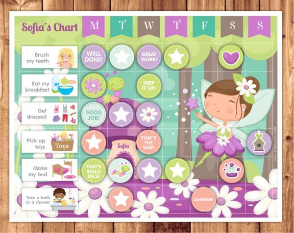 reward chart brunette girl