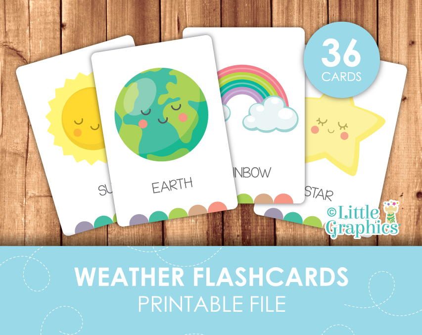 weather flascards little graphics